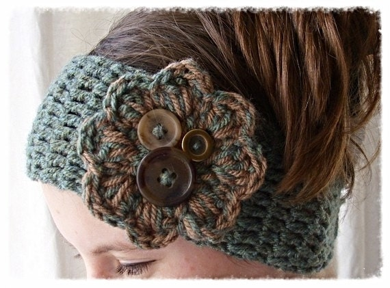 Crochet Flower Headband headwrap earwarmer - Adult size - green