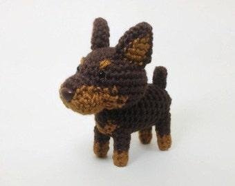 Doberman Red Amigurumi Dog Plush Toy Stuffed Animal Puppy  / Made to Order