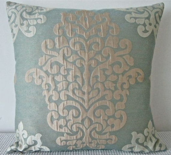 damask duck egg blue cushion covers throw pillows by. Black Bedroom Furniture Sets. Home Design Ideas