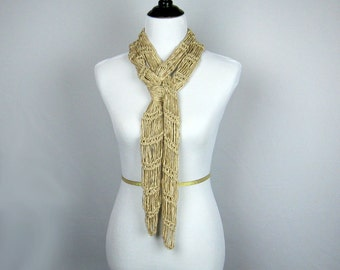Hand Knit Scarf, Lacy Stitching, Golden Beige Tones, Bamboo Yarn, High Fashion, Accessory, Necklace Scarf, Long, Narrow, Handmade, Elegant