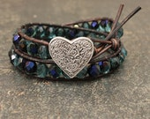 Unique Valentine's Jewelry Beaded Leather Heart Bracelet Silver Blue Turquoise Heart Jewelry