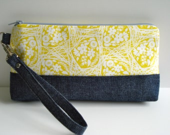 Wristlet Clutch/Zipper Clutch/ Coin Purse/Credit Card Holder/Make Up Bag/ Yellow Cotton Print/Denim Clutch/Cosmetic Bag/Made To Order