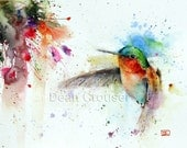HUMMINGBIRD & FUSCHIA Watercolor Bird Art Print by Dean Crouser