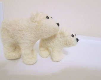 Polar Bear and Cub - Needle Felted Bear Set