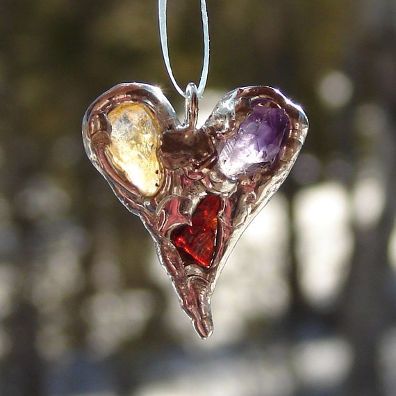 American red cross sculptured metal heart suncatcher ornament
