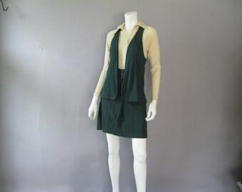 Vintage Mod Suit - 1960s Mini - Green 2 Piece Ensemble - Mint