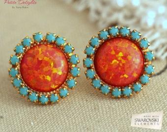 Opal earrings,Coral Mint Studs,Opal stud earrings,Turquoise Orange Opal Swarovski earrings,Christmas Gift,Gift for Her,Opal Gift For Her