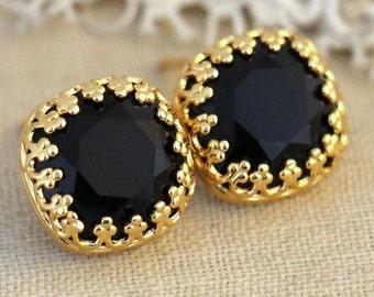 Black Earrings,Swarovski Crystal earrings,Black Gold stud earrings,Black and Gold Crystal earrings, gift for woman Onyx Black  stud earrings