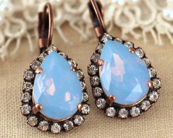 Blue earrings, Blue Drop Earrings, Blue Sky Earrings, Bridal Drop earrings, Blue Sky Earrings, Swarovski Earrings, Bridesmaids Earrings