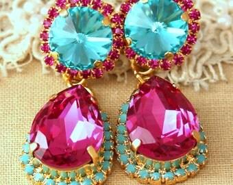Fuchsia Turquoise Chandelier earrings, Statement earrings, Turquoise chandelier earrings, Swarovski Crystal Pink Fuchsia earrings.
