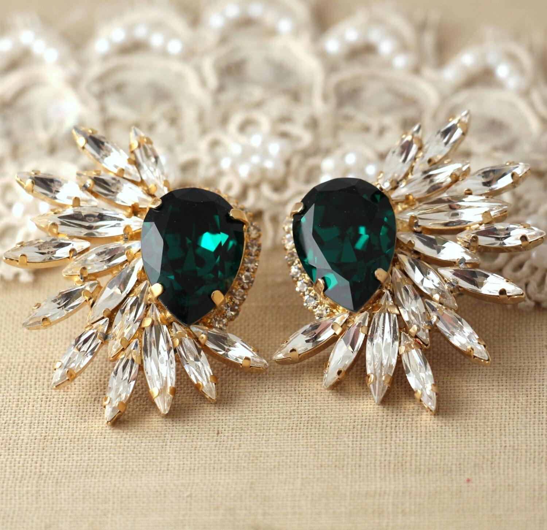 Emerald Statement Swarovski earrings Statement earrings
