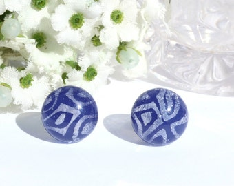 "Small Dichroic Glass Stud Earrings, Fused Glass Jewelry, Surgical Steel Posts - Spring, Dark Blue, White, > 3/8"", 10.2mm (Item #30868-E)"