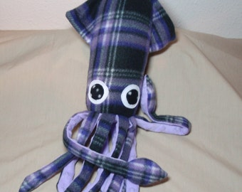 Made to Order Bonnie McSquidlan the Purple and Black Plaid Fleece Squid - Stuffed Plush Ocean Marine Animal