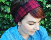 red and black flannel wire headband