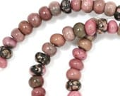 Rhodonite (with Matrix) Beads - 6mm Rondelle - Half Strand