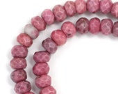 Rhodonite Beads - 6mm Faceted Rondelle - Full Strand