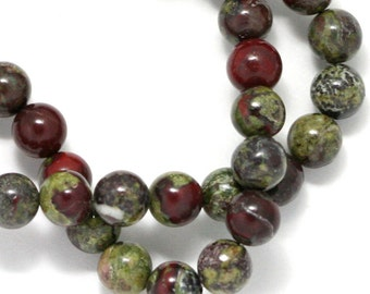 Dragon Blood Jasper Beads - 6mm Round