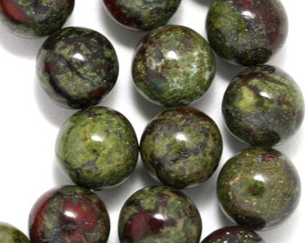 Dragon Blood Jasper Beads - 10mm Round