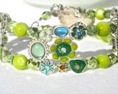 Blue And Green Fantasy Bracelet, Nature Jewelry, St. Patrick's Day, Boho Style, Cottage Style