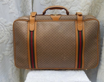 Fabulous -AUTHENTIC Vintage GUCCI Suitcase Luggage Monogram GG Canvas Leather