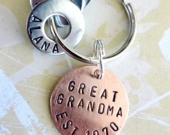 GREAT GRANDMA Gift Personalized Christmas Keychain Hand Stamped Key Chain - Grandparent Birthday - Copper Disc & Washers