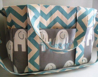 Extra Large Diaper Bag -  Chevron - Elephant Diaper Bag- Elastic Pockets - Diaper Bag - Messenger Bag - Tote Bag - Personalized