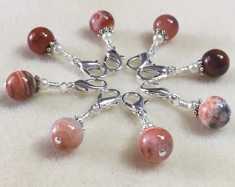 Red Agate Removable Crochet Stitch Markers- Progress Keepers for Knitting & Crochet