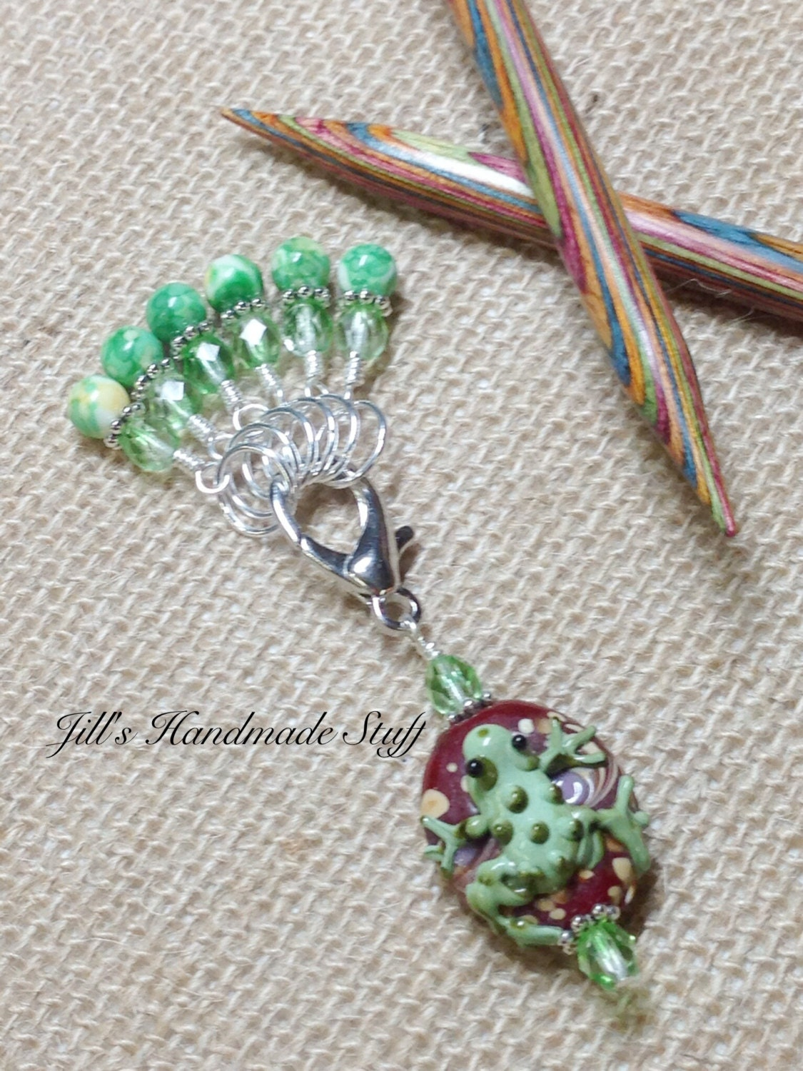 Knitting Holder Stitches : Snag Free Knit Stitch Markers & Frog Beaded Marker Holder