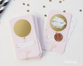 24 Scratch Off Baby Shower Game Cards  // Pink and gold Balloon