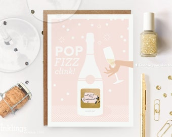 "6 Scratch-off ""Pop Fizz Clink"" Will You Be My Bridesmaid / Maid of Honor Write-in Invitations // Pink Champagne and Gold Foil // Set of 6"