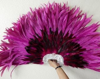 PINK Flamingo Grand Deco Feather Fan Las Vegas Showgirl Burlesque Huge 42X27 Dance Fan