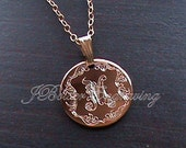Hand Engraved Gold Filled Initial Pendant Necklace Monogrammed in Leaf Script with Any Letter