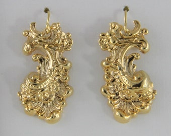 Gold Tone Flourish Earrings On Gold Filled Hooks