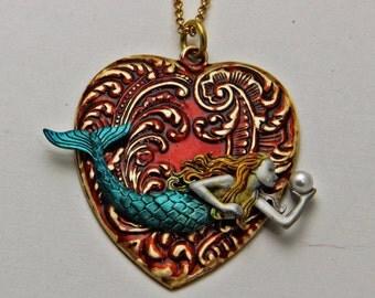 Handmade Heart and Mermaid Necklace