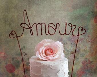AMOUR Rustic Wedding Cake Topper, Rustic Wedding Centerpiece, Bridal Shower Decoration, Engagement Party Decoration, Anniversary Decoration