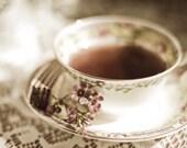 Afternnon Tea, still life photography, vintage teacup photo, 5x7 print