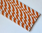 Vintage Inspired Paper Straws- Orange- 25 count with DIY Printable Straw Flags