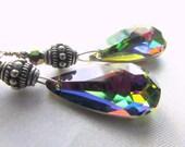 Long Earrings in Swarovski Vitrali Medium Crystal Teardrops and Bali Sterling Silver Earrings