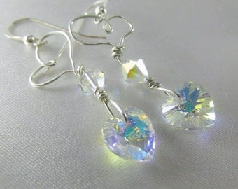 Crystal AB wired Swarovski Heart Earrings on Fine Sterling Silver
