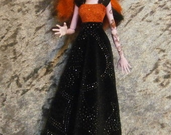 Red and black velvet gown for monster and ever after dolls