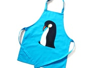 kids apron turquoise penguin apron 3-6 years personalised