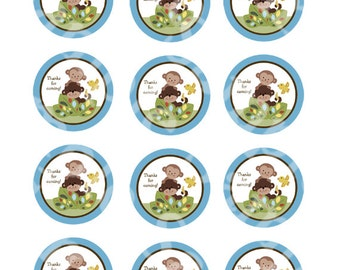"""Printable """"Curly Tails Monkey"""" Cupcake Toppers/Stickers/Gift Tags Instant Digital Download"""