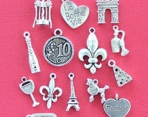 France Charm Collection Antique  Silver Tone 15 Different Charms - COL102