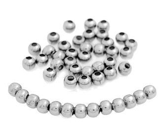 1000 Spacer Beads Silver Tone 3mm - FD25