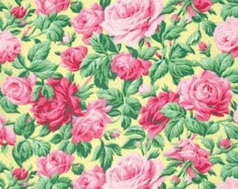 Rose Garden Butter, Shabby Chic, Fabric by the Yard, Verna Mosquera Fabric, Snapshot, One Yard