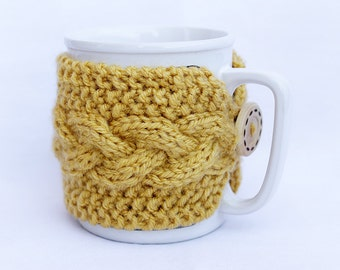 Knitted Cup Cozy Yellow Mustard Mug Sleeve