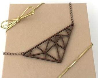 Wood Necklace, Walnut Laser Cut Triangle Necklace