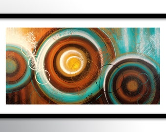 11x17 PRINT Abstract Painting on Glossy Cover Stock, Wall Art, Teal & Brown Modern Fine Art by Maria Farias