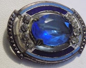 Antique blue stone, faux marcasites, and enamel Art Deco brooch, 1920s jewelry, vintage brooch