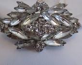 Vintage brooch, 3 layer stunning Eisenberg look marquise crystal designer brooch,classic retro beauty